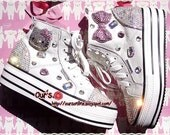 Czech  Crystal Bling Bling  Stylish  Women's Hello Kitty  Converse shoes