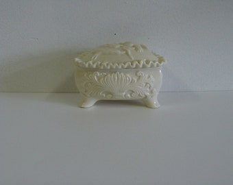 Ceramic Porcelain Jewelry Box, Footed Trinket Box with Floral Design