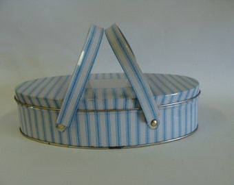 Oval Shaped Tin with Double Handles, Home Decor, Storage Tin, Sewing Box