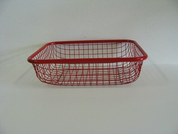 Painted Red Square Wire Basket / Storage Wire Basket