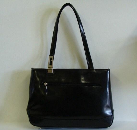 Black Leather Handbag by Guess, Leather Shoulder Bag Purse,  Double Straps, Snap Closure