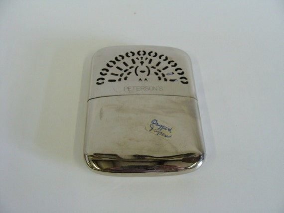 Hand Pocket Warmer Made in Occupied Japan Peterson's, Collectible Historical Metal Hand Pocket Warmer