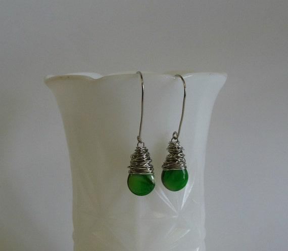 Green Glass Teardrop Earrings / Wire Wrapped Earrings / Green Glass Earrings with Wrapped Sterling Silver