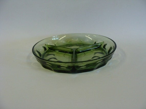 Green Depression Glass Divided Tray Dish, Three Section Relish Tray