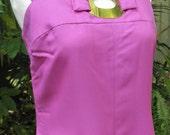 Ladies Vintage 1970s Long Fushia Pink Maxi Sleeves Dress by Fontana Sydney SW/12