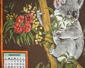 Vintage 1985 Koalas Australian Calender Cotton Tea Towel NWOT