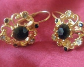 Vintage Gold Toned Pierced Earrings with Black & Clear Rhinestones