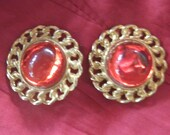 Vintage Cherry Red 50s Style 80s Gold Tone Clip-on Earrings