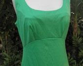 Vintage 1970s Long Bright Green Maxi Sleeveless Dress by Escapade Sydney S/10/12