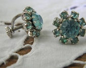 Vintage 50s 60s Pale Blue Rhinestone & Silver Tone Screw-on Earrings