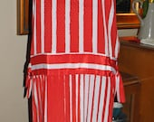 Cherry Red & White Drop Waist 20s Style Vintage 80s Dress Size M 12-14 36 bust
