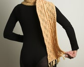 Silky touch and advanced yarn technology in Yellow Hand knitted silk, woollen and Soybean  ScarF