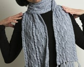 Unique Silk appearance and Cashmere feeling in soybean hand knitted light blue Scarf
