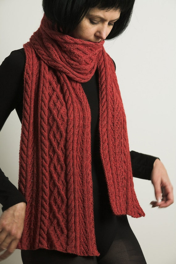 Cashmere, Cotton and Angora in one hand knitted red scarf