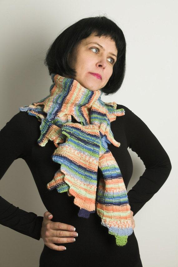 Design scarf for her, colourful  hand knitted woollen scarf, bufanda tejida, schal, spring colours in handmade scarf, blue, orange, scarf