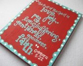 Red and teal love scripture on canvas