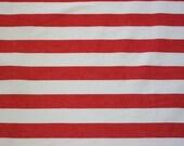 FABRIC DESTASH Red and White Horizontal Striped-Denim Weight