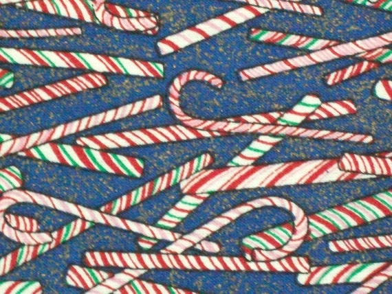 CHRISTMAS FABRIC-Blue with Multicolor Candy Canes