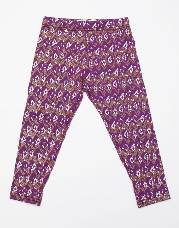 Hand Printed Kids Leggings in Plum with Gold and White 'Snakeskin' Print
