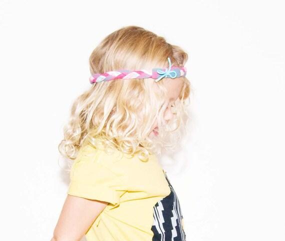 Braided Headband in Slate Pink Maze Print