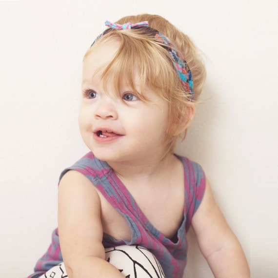 Braided Headband in Blue, Pink and Black Navajo