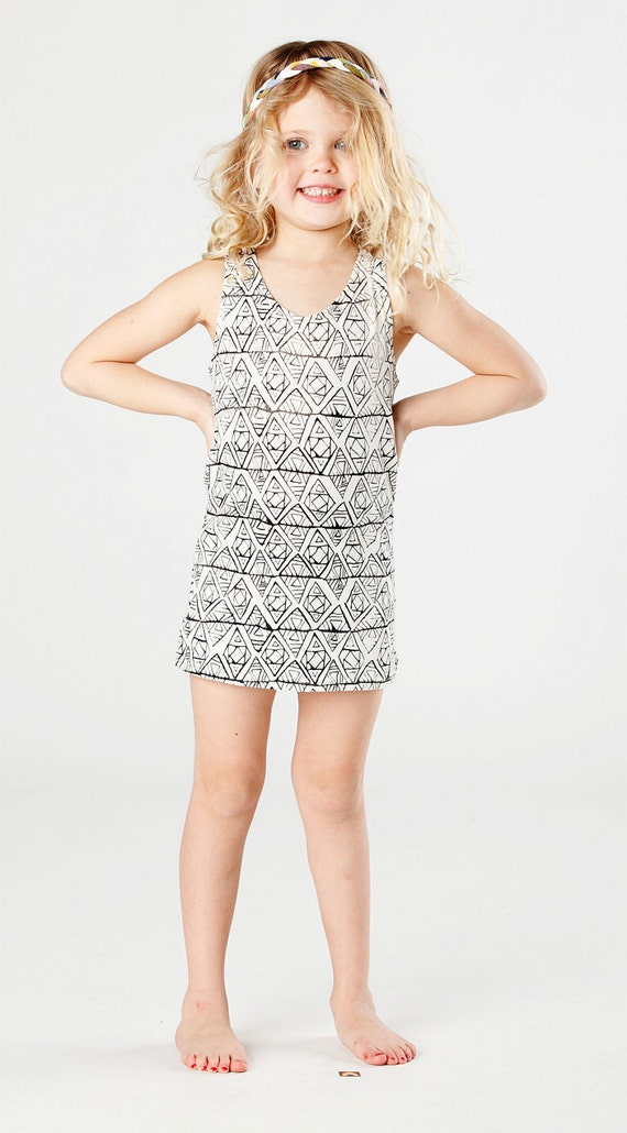 Geo Tank Dress in Black on Creme