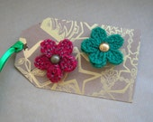 Christmas Woollen Flower Brooches, set of 2