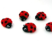 Needle felted Ladybugs, 5 Ladybirds, Lucky Ladybug applique, wool felt insects