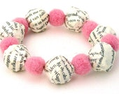 Paper mache bracelet BOOK LOVER - pink felt beads and paper mache beads from book pages - stylish paper jewelry by drudruchu