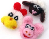 Needle felted animal brooches - Felt Chicken, Pig and Sheep pins
