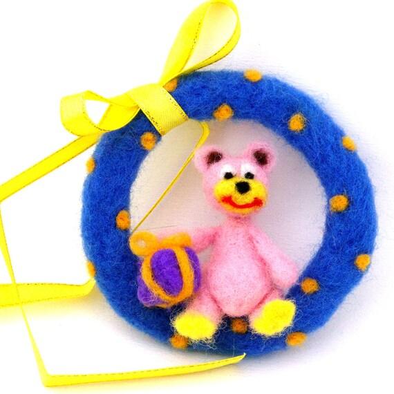 Felt bear ornament - Needle felted pink teddy bear ornament - Nursery decor - Pink wool felt bear