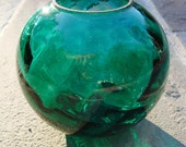 Vintage Emerald Green Hand Blown Vase