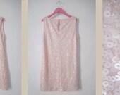Pale pink sequins vintage dress.