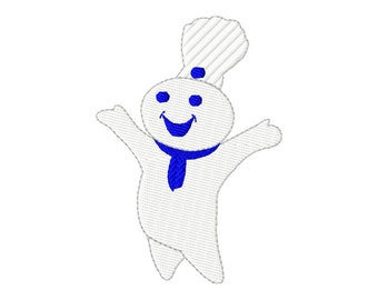 4x4  hoop size  Pillsbury Dough Boy  Inspired  digital embroidery design