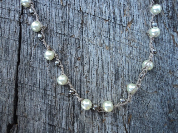 Pearl and Silver Crocheted Necklace, Boho Necklace, Bohemian Pearl Necklace, Opera Length Long Necklace, Boho Necklace, Long Pearl Necklace