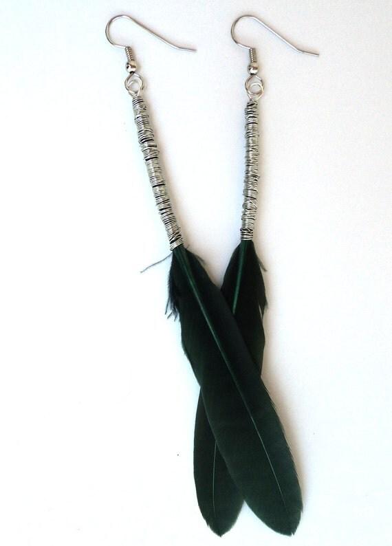 Green Feather Earrings Long feather earrings boho hippie tribal american indian native american earthy hypallergenic surgical steel earrings