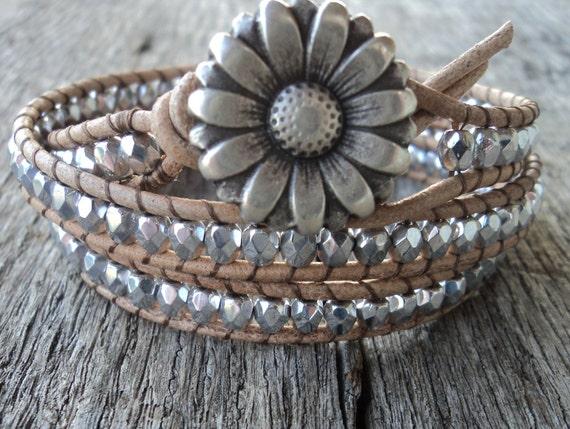 Silver Leather Wrap Bracelet, Layered bracelet, country western bracelet, Bohemian Bracelet, Silver Bracelet, leather bracelet, boho jewelry