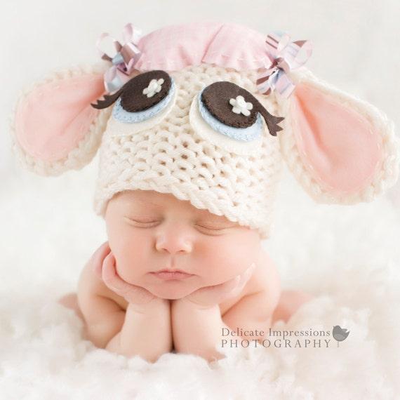 Baby Lamb Hat - Easter Hat - Photography Prop - Newborn Hat