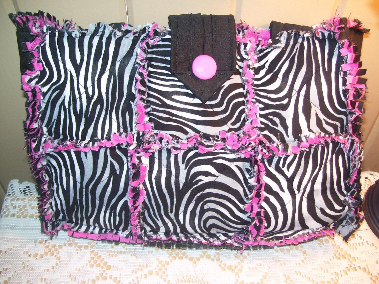 ZEBRA Print Rag Quilt Purse / Diaper Bag by cozyragquilts