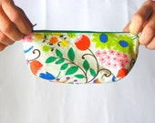 Green Cosmetic Pouch with spring flowers, Coin Purse, Money Purse, Mother's day