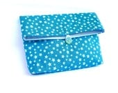 Fold Over Clutch, Handbag, Teal and Turquoise Clutch, Cosmetic Bag, Make up Pouch