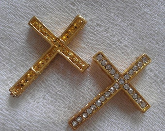 Sideways CZ Gold Cross- Size 25mm long
