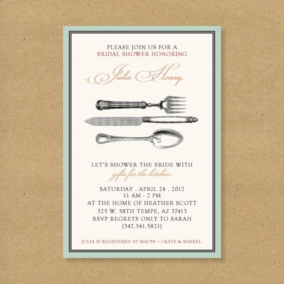 Bridal or Wedding Shower Invitation - Kitchen Themed