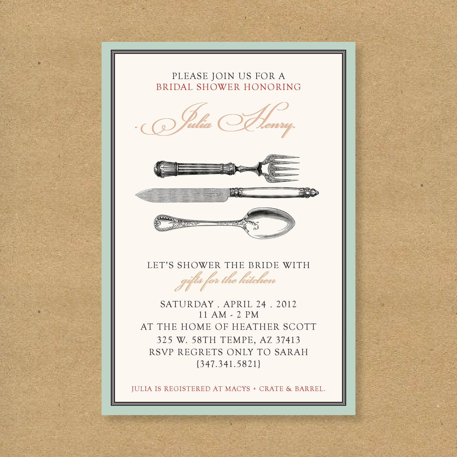 Bridal or Wedding Shower Invitation Kitchen Themed by HENANDCO