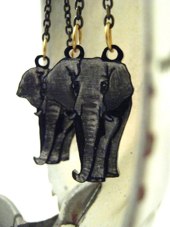 Elephant Earrings, Shrink Plastic Earrings, Animal, Beast, Industrial, African, Gray, Brass Earrings, Original Art