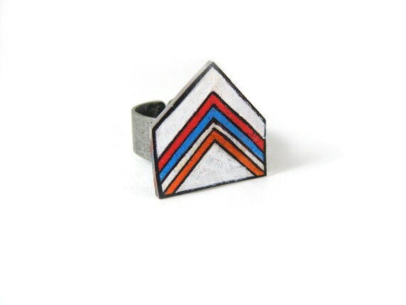 Chevron Ring, Shrink Plastic Jewelry, Boho, Arrow, Geometric, Clean Lines, Minimalist, Wearable Art