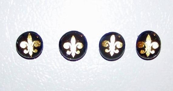 Black & Gold Fleur De Lis Magnets - Set of 4 - Small