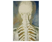 Skeleton Monoprint - One of a Kind Fine Art Print - 6 x 9 inches