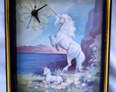 "Retro Kitsch Unicorn Clock, Framed Print by Hyatt with Battery Operated Clock, 9"" x 11"""