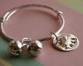 Silver personalized baby bangle bracelet